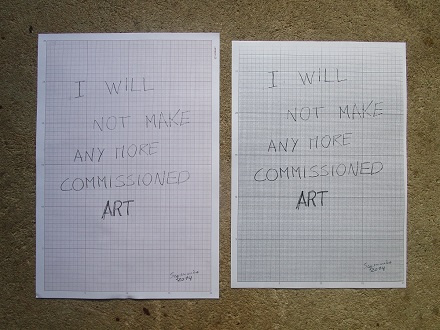 Via Carbon Paper - Original and copy of I will not make any more commissioned art, 2014
