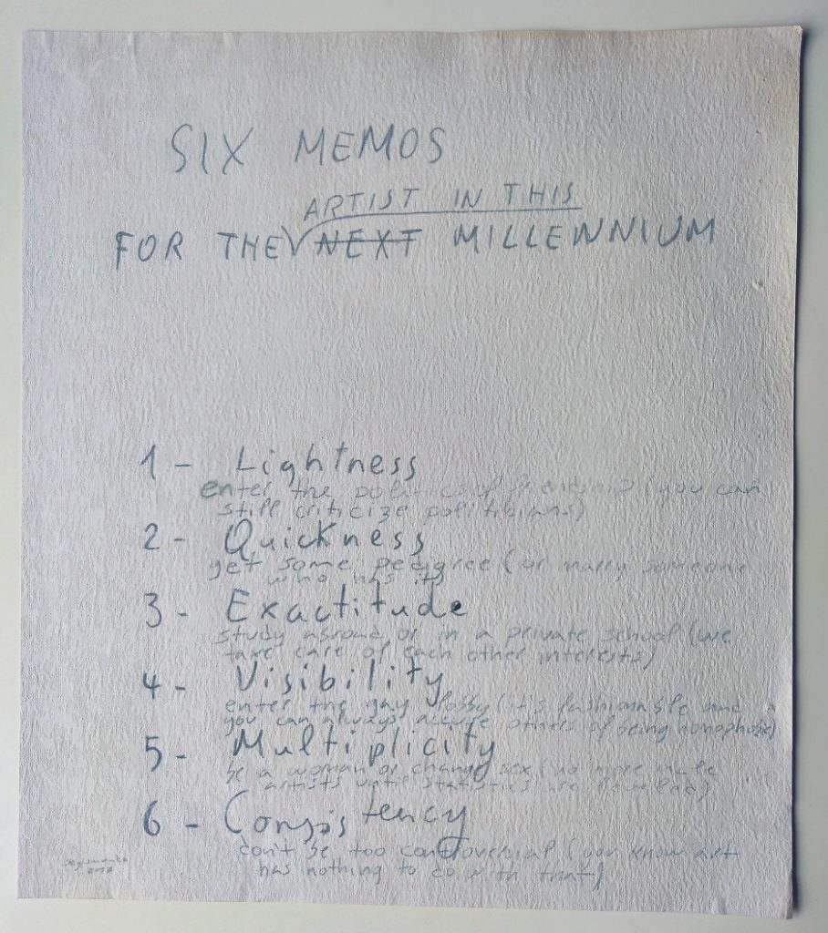 Via Carbon Paper - Six memos (after I. Calvino), 2017